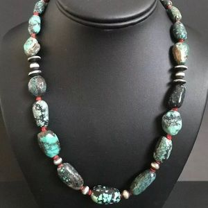 Jewelry - Sterling Silver Turquoise Coral Bead Necklace.